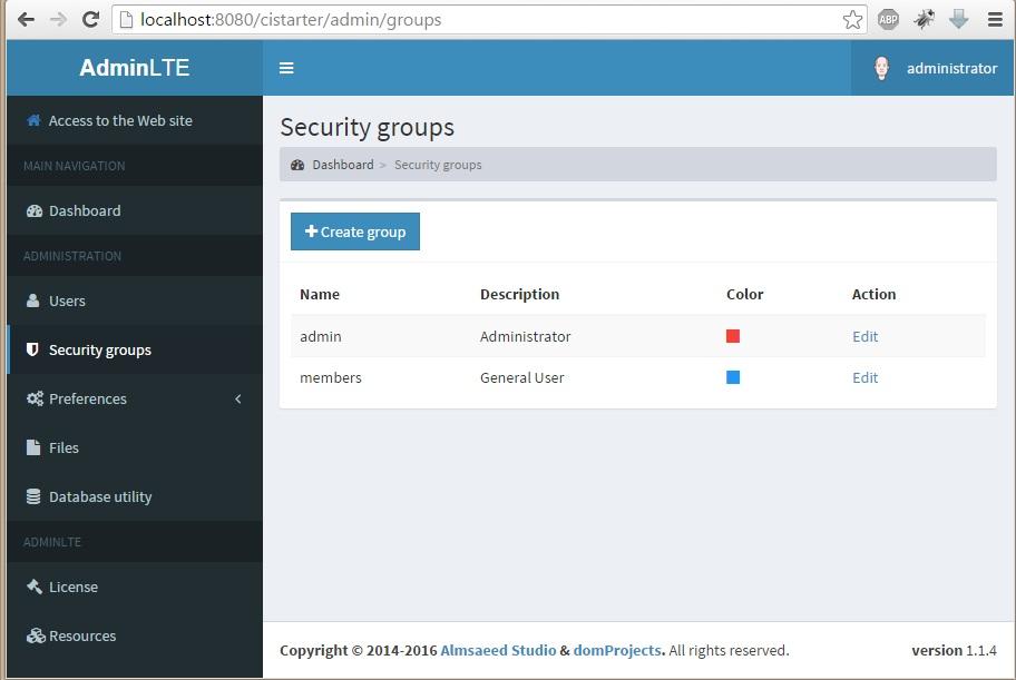 download codeigniter   adminlte application starter