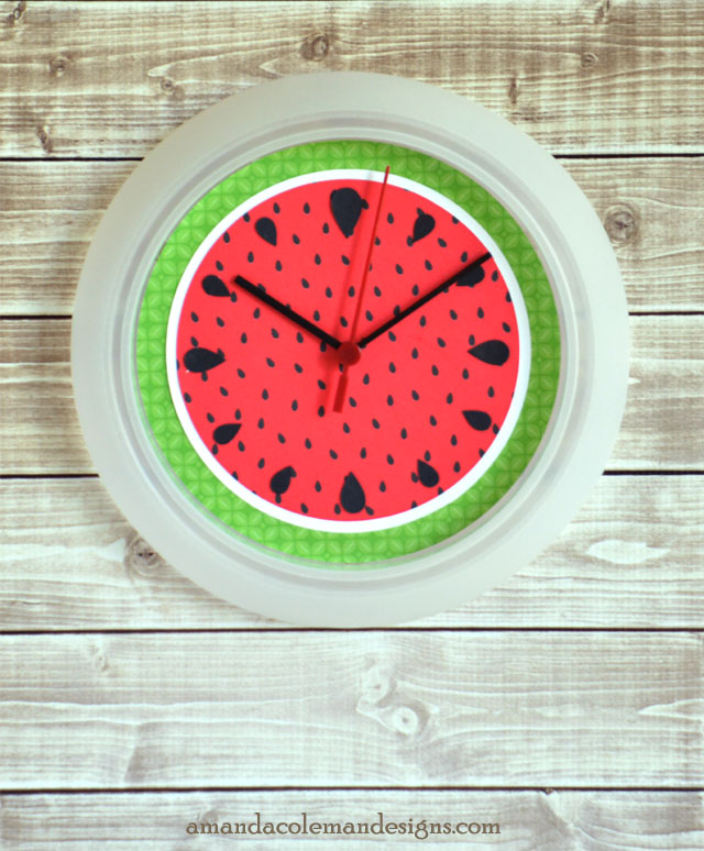 Watermelon Clock using a $1.00 IKEA RUSCH.  So cute!