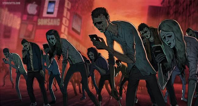 zombie cu smartphone-uri