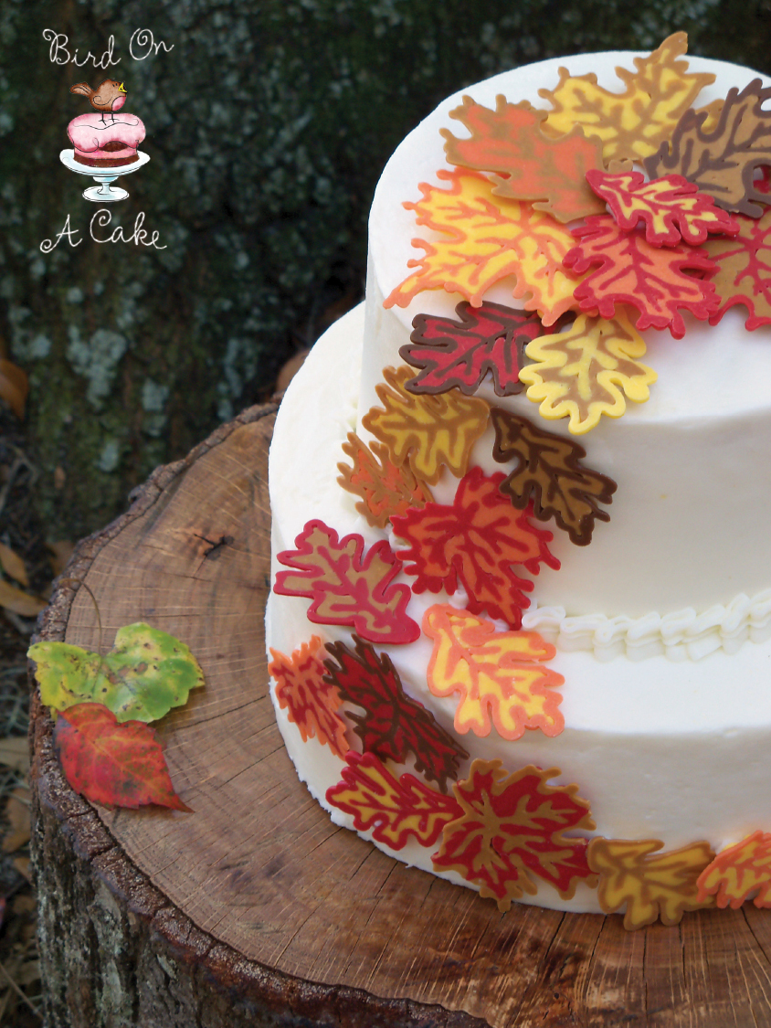 Cake Decorating How To Make Leaves : Bird On A Cake: Autumn Leaves Cake