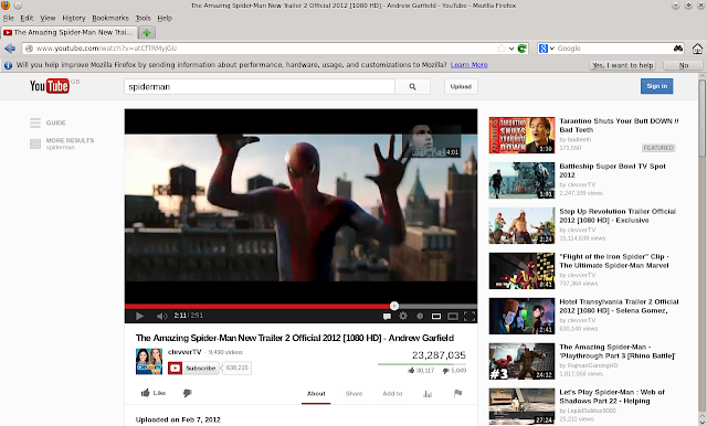 OpenSUSE 12.3 Everyday Linux User - Spiderman in FireFox