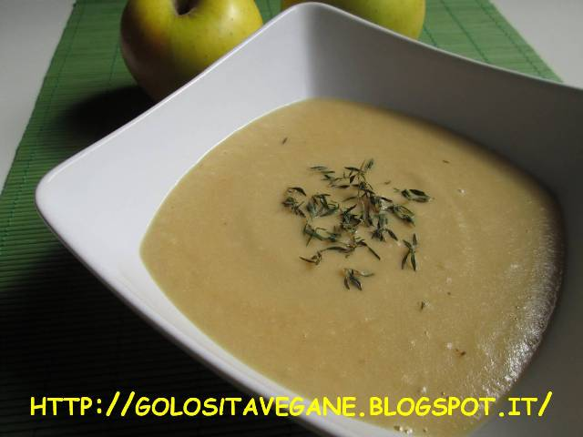 cipolle, mele, miso, panna soia, patate, ricette vegan, timo, vellutata, Zuppe,