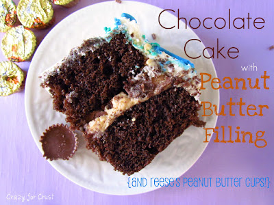 slice of chocolate cake with peanut butter filling