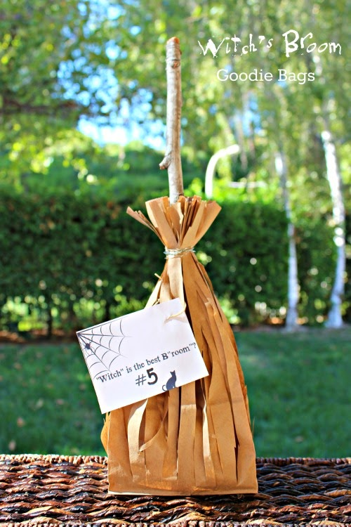 Witch's Broom Goodie Bags w/ free tag printable