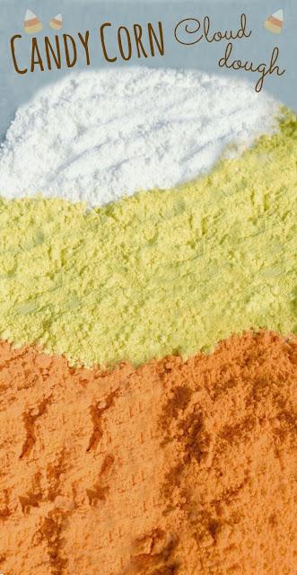 Candy corn cloud dough recipe for play- fabulous fun for Fall!