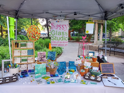 Sassy Glass Studio, fused glass, art, Market Square Farmers' Market, Knoxville, TN, one-of-a-kind fused glass art, Fusography