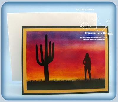 My Handmade Desert Sunset Card and Handmade Envelope.