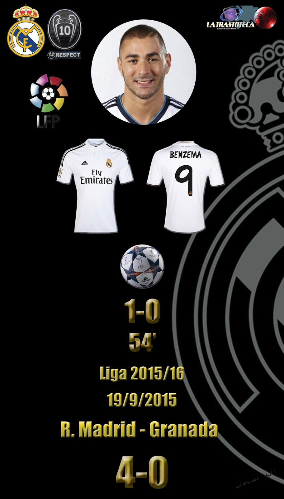 Real madrid 1 0 granada liga 2015 16 jornada 4 19 for Correo real madrid
