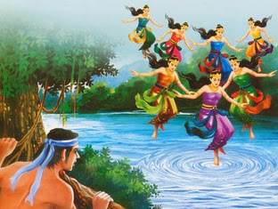 Painting of Jaka Tarub with 7 Goddess