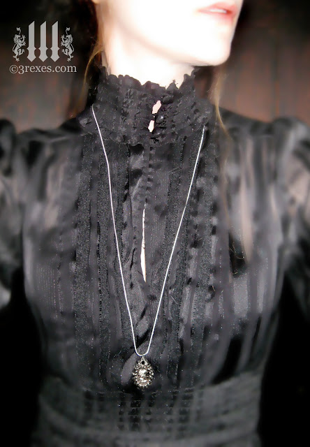 silver victorian ghost necklace