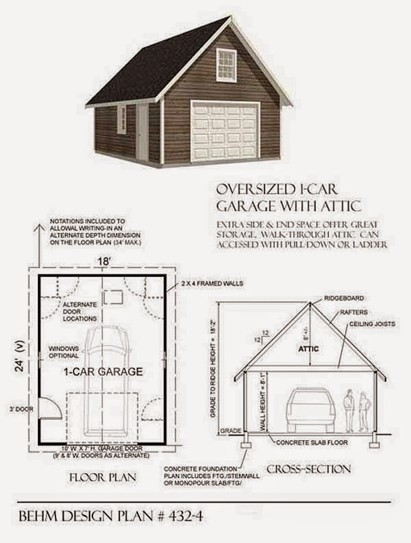 Garage plans blog behm design garage plan examples for Oversized one car garage