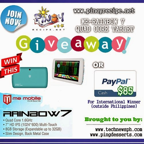 ME Rainbow 7 Quad Core Tablet giveaway