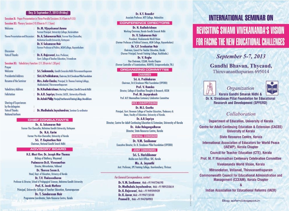 Dr. K. Sivadasan Pillai Foundation: International Seminar ...