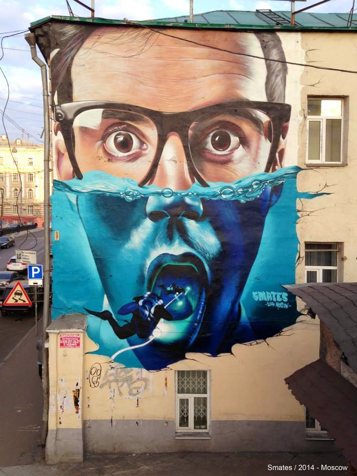 Smates recently stopped by Russia where he was invited to paint a new piece on the streets of Moscow.
