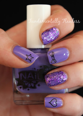 Nail Art Just Like Parma Violet with Nail Tattoos