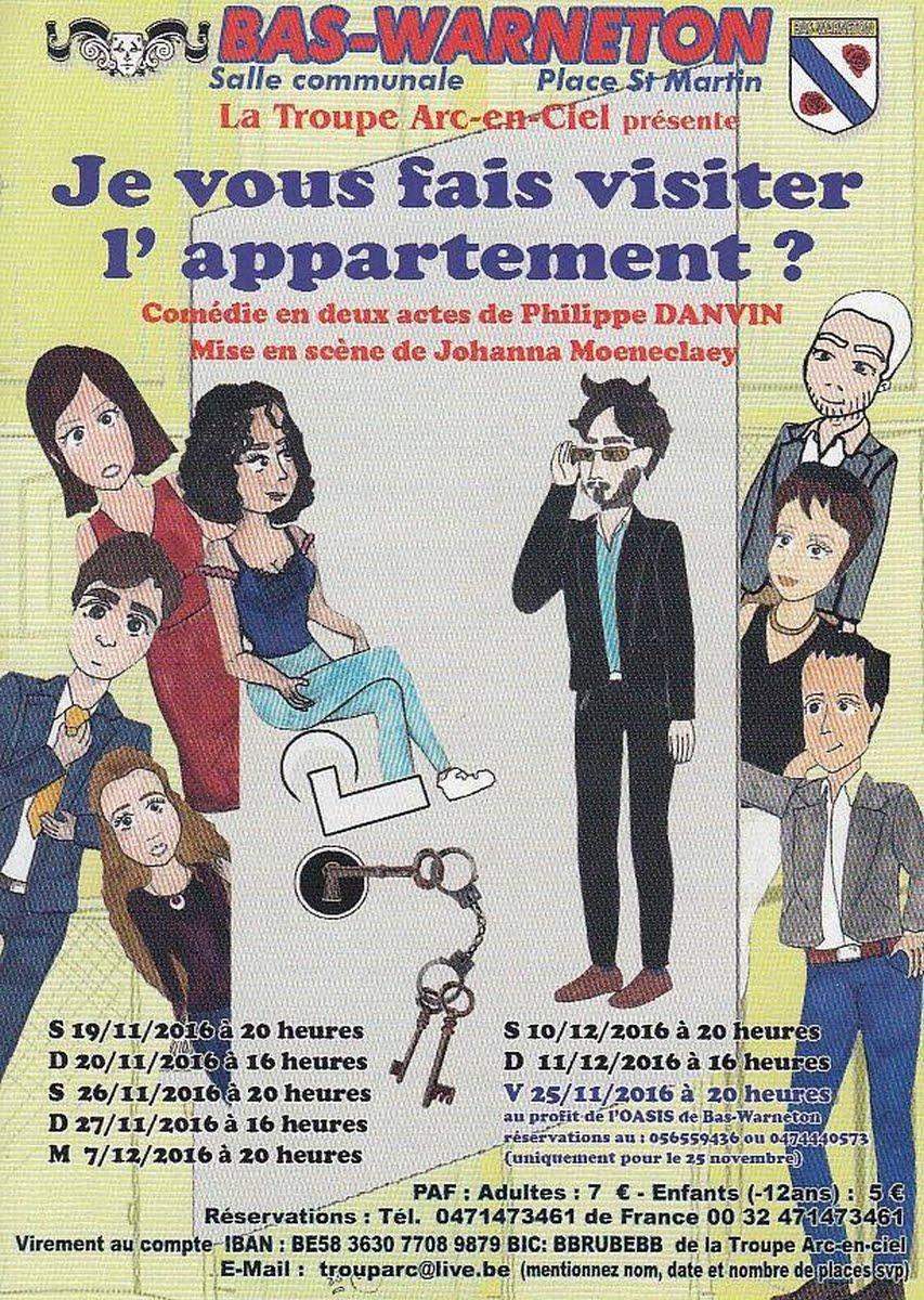 """BAS-WARNETON : Théâtre La Troupe Arc-en-Ciel présente """" Je vous fais visiter l'appartement """"à parti"""