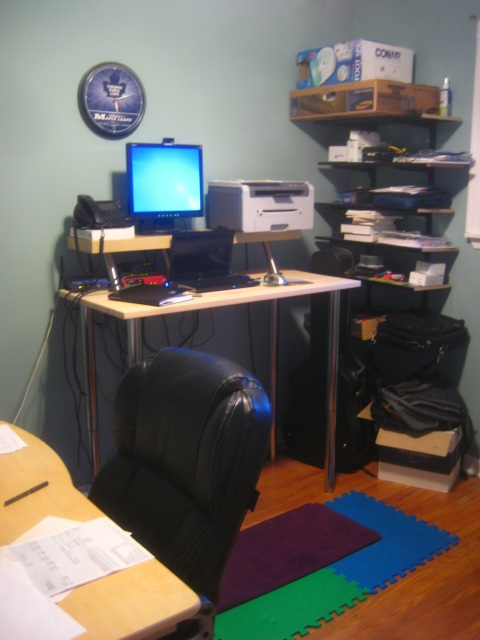 The desk in its new location