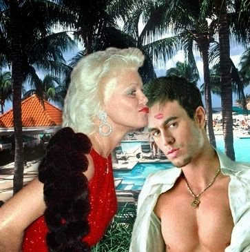 blonde jaguarjulie at the beach with enrique iglesias