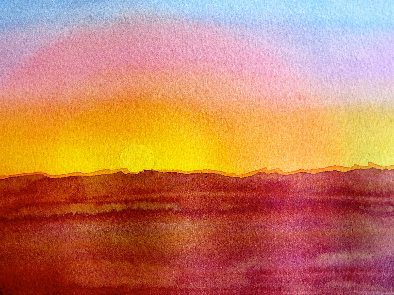 The painted prism color project painting a sunset using for Watercolor pictures to paint