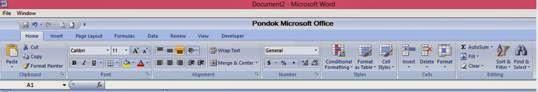 Tampilan Menu Bar Excel di Word