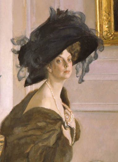 Detail, Portrait Of Princess Olga Orlova By Valentin Serov. 1911. [Image:  Head, Shoulders And Torso Of A Middle Aged White Woman Wearing An Enormous  Gilded ...