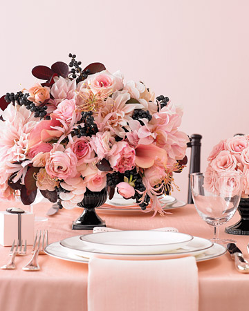 Pale Pink Black Wedding