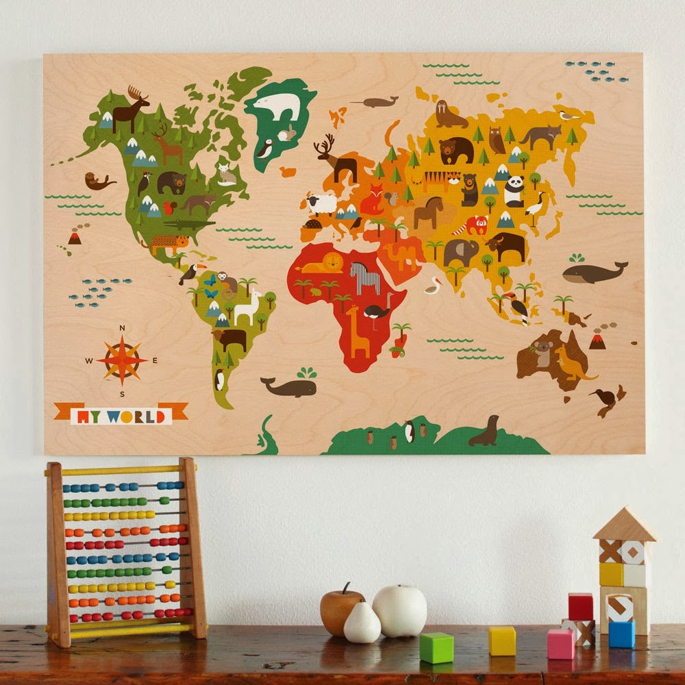 Colorful World map for Kids by maxginez3