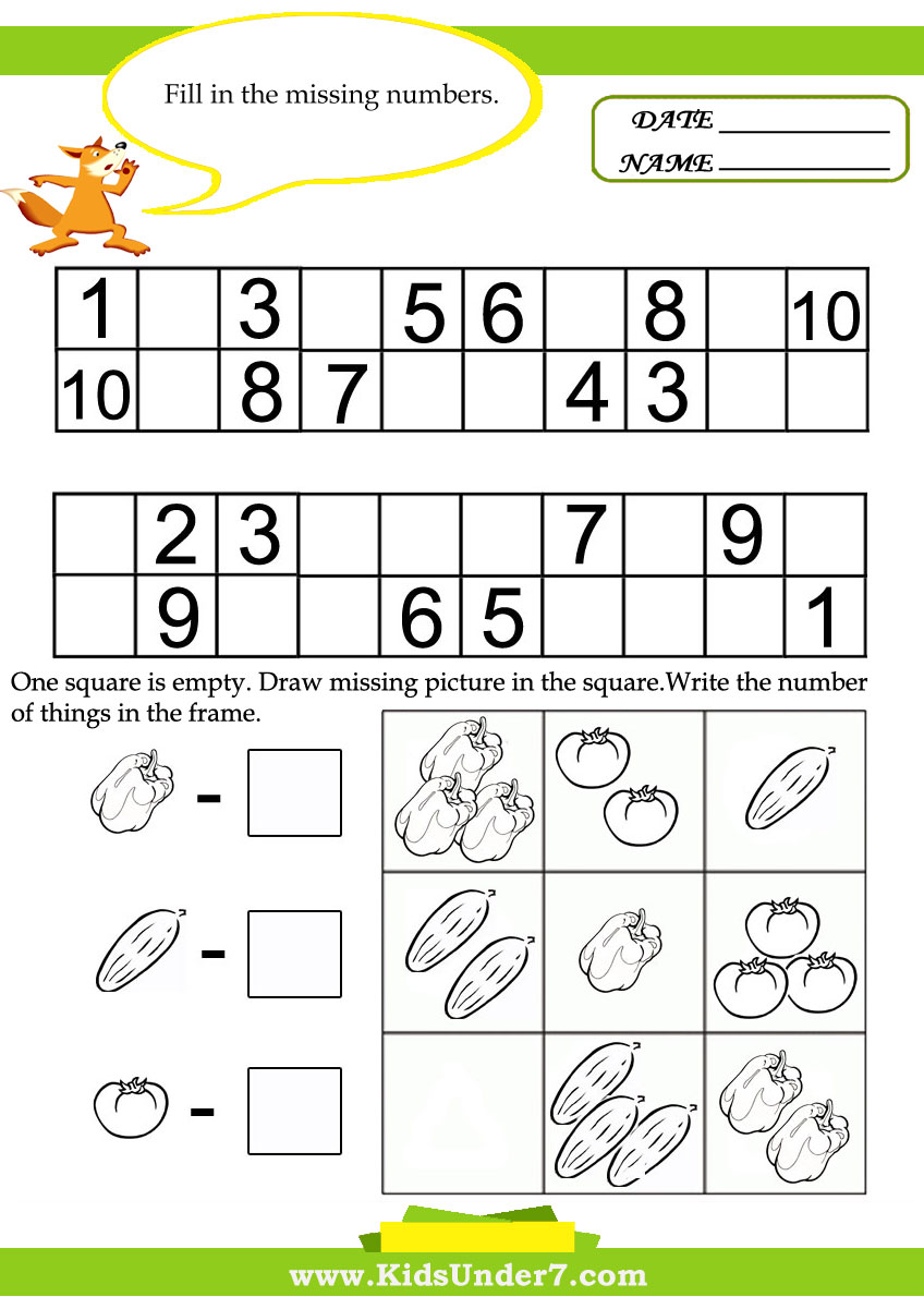 Kids Under 7: Kids math worksheets
