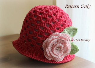 Cloche Summer Hat Pattern, Size 3-5 Years Old, $3.45