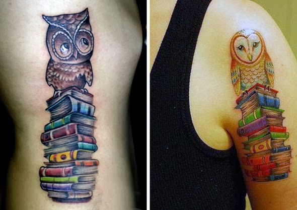 livros coruja tatuagem sabedoria