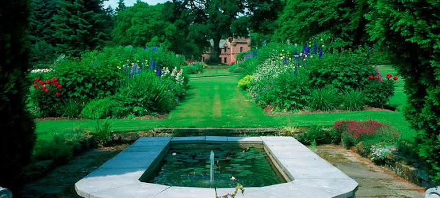Tower of Lethendy, Scotland - Formal Gardens with pond