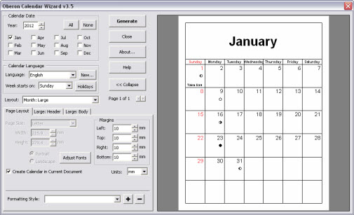 Klik Expand untuk melihat pratinjau kalender sampeyan dalam jendela