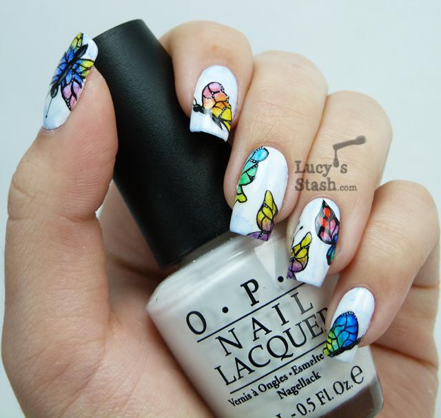 Lucy's Stash - Watercolour (aquarelle) butterflies nail art