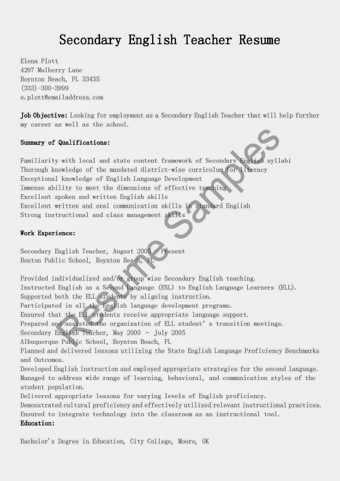 sample esl teacher resumes - Esl Teachers Resume