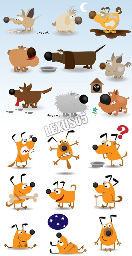 Cartoon Dogs - Vector Illustration