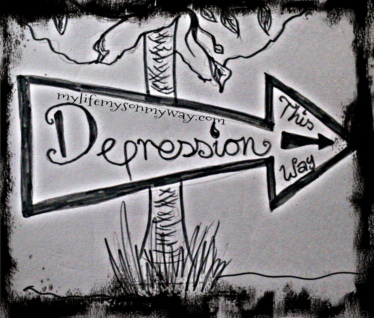 Depression, sign, this way, tree, dark, moody, pencil, art, drawing,