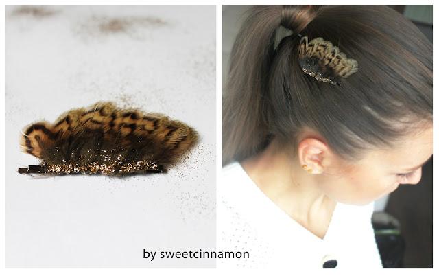 заколка для волос с перьями