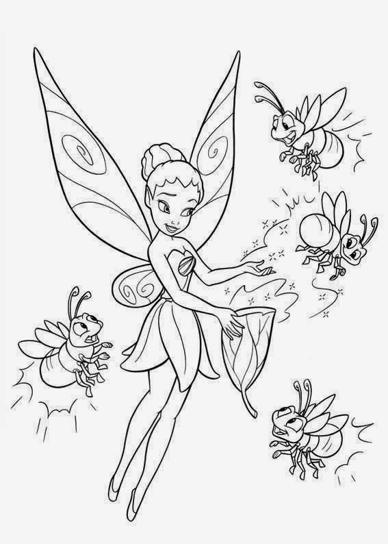 Fairy and bees tattoo stencil