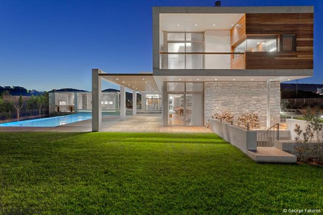 elegant house design Stone House in Anavissos