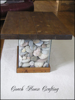 fish tank table, pebble table, wood coffee table, scrap wood table,recycled table, easy table