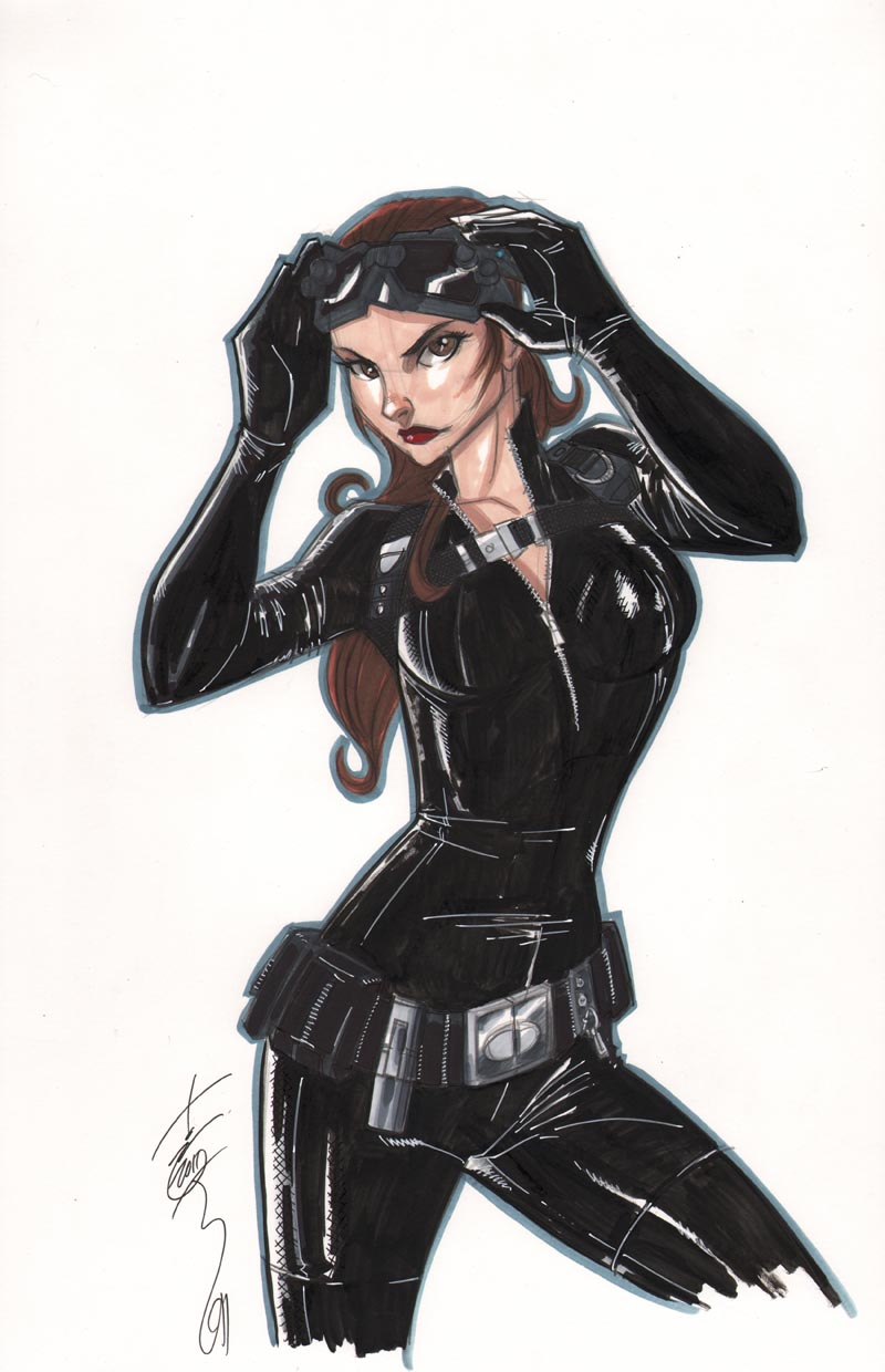 Fashion and Action: Anne Hathaway as Catwoman - Sketch by