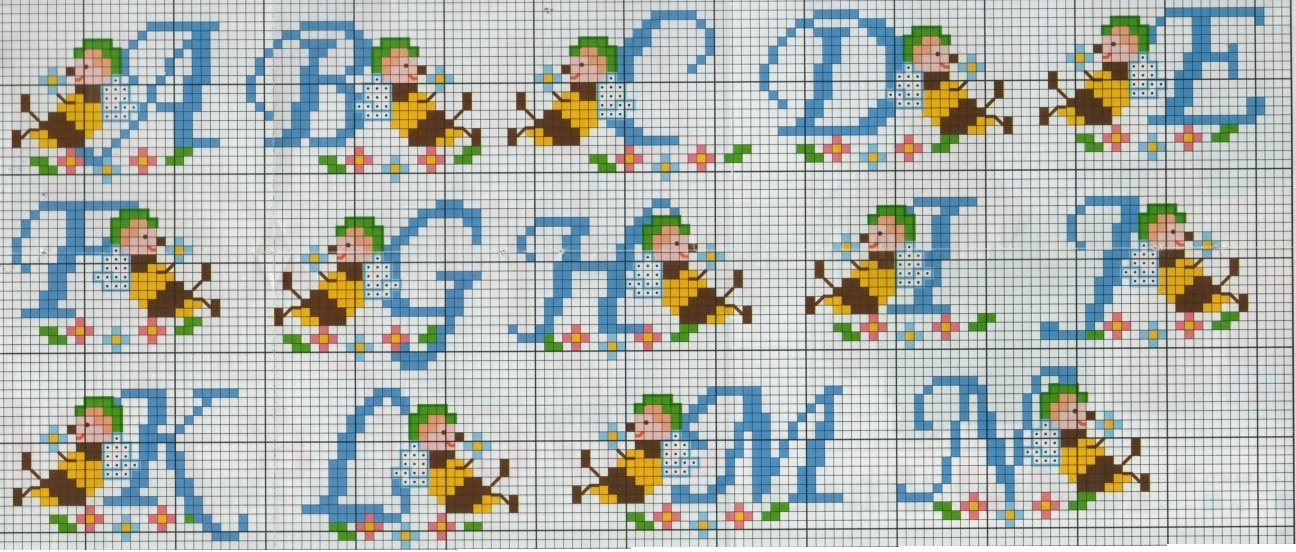 Professione donna schema punto croce alfabeto con le apette for Alfabeto punto croce grande