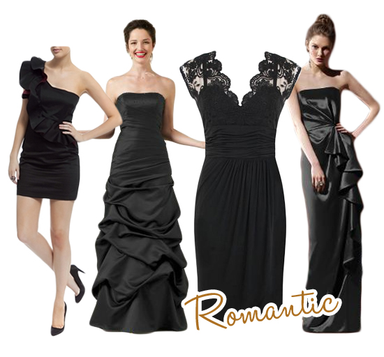 Romantic Black Bridesmaids Dresses