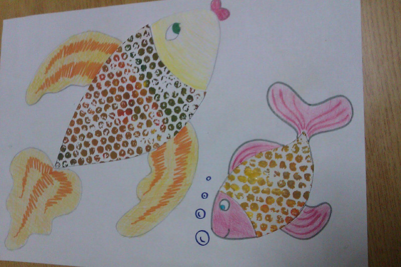 Manualidades escolares peces de burbujas - Decorar dibujos infantiles ...