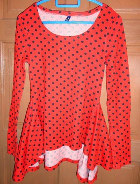 Dress Peplum Merah Polkadot, peplum cantik, corak baju polkadot, fesyen peplum, harga peplum