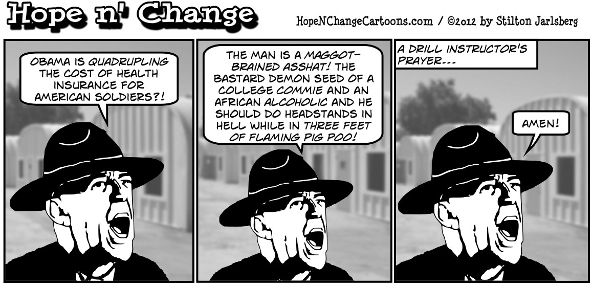 Barack Obama decides to raise the cost of health insurance for military rather than make any real spending cuts, hopenchange, hope and change, hope n' change, stilton jarlsberg, political cartoon, tea party