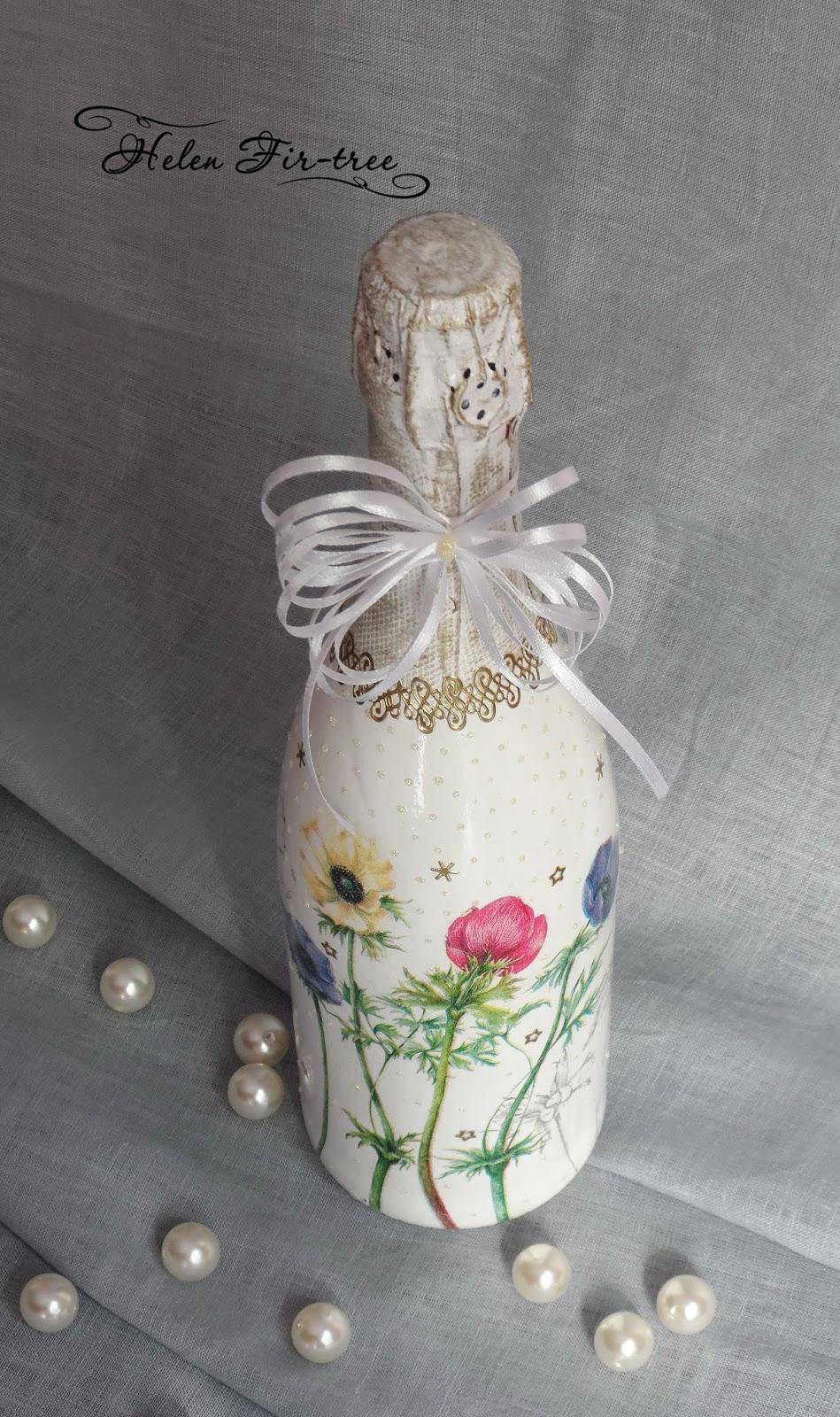 Helen Fir-tree декупаж бутылка шампанского decoupage a bottle of champagne