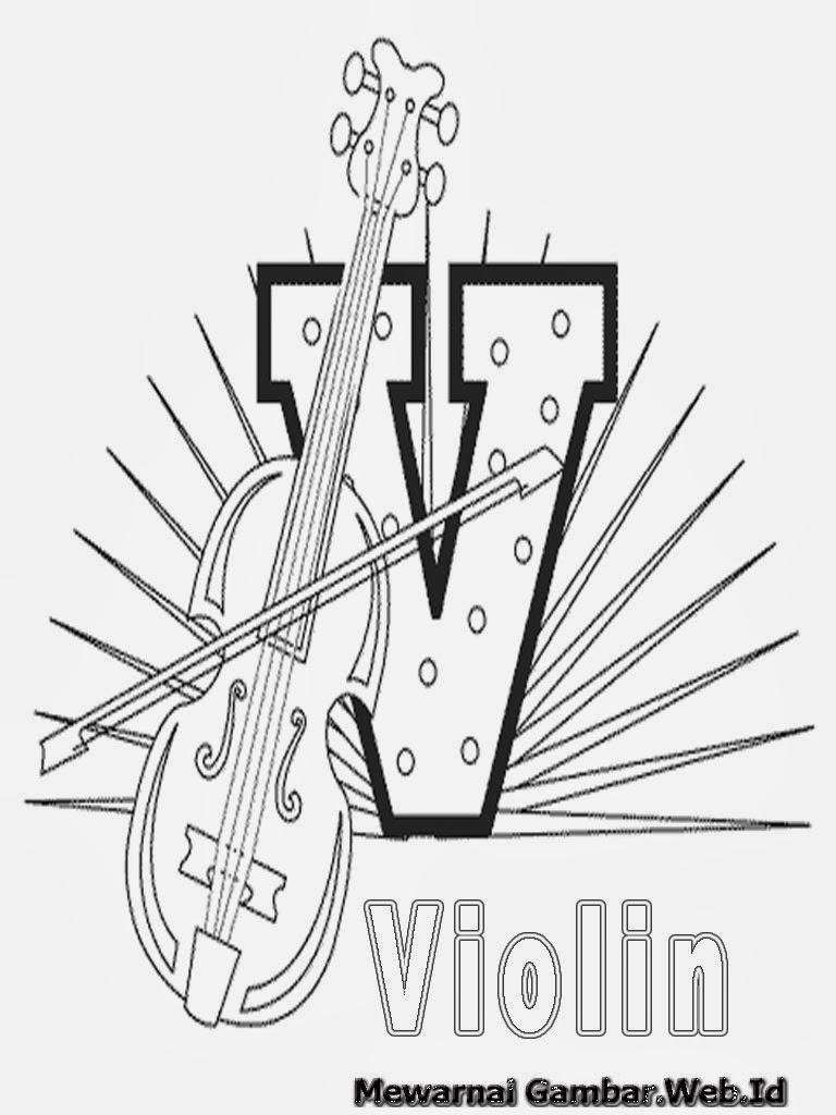 Belajar Mewarnai Huruf Alfabet V - Violin