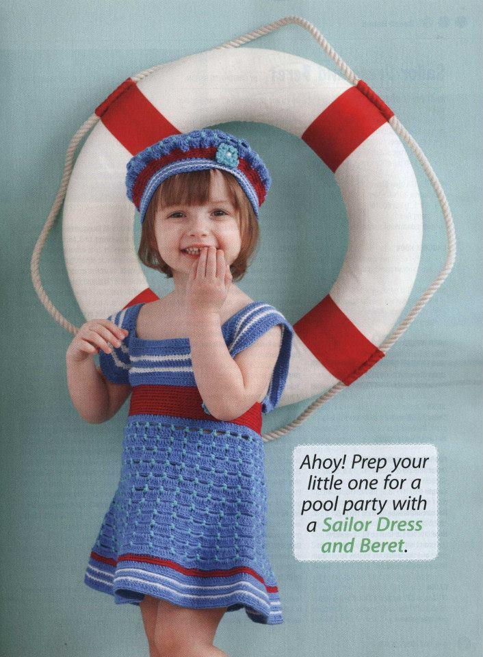 Для юных морячек от года до 5-ти лет: сарафанчик + берет крючком