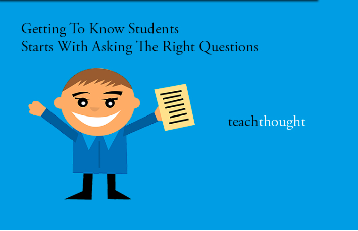 Image of a boy holding a piece of paper with the caption: Getting to know students starts with asking the right questions.